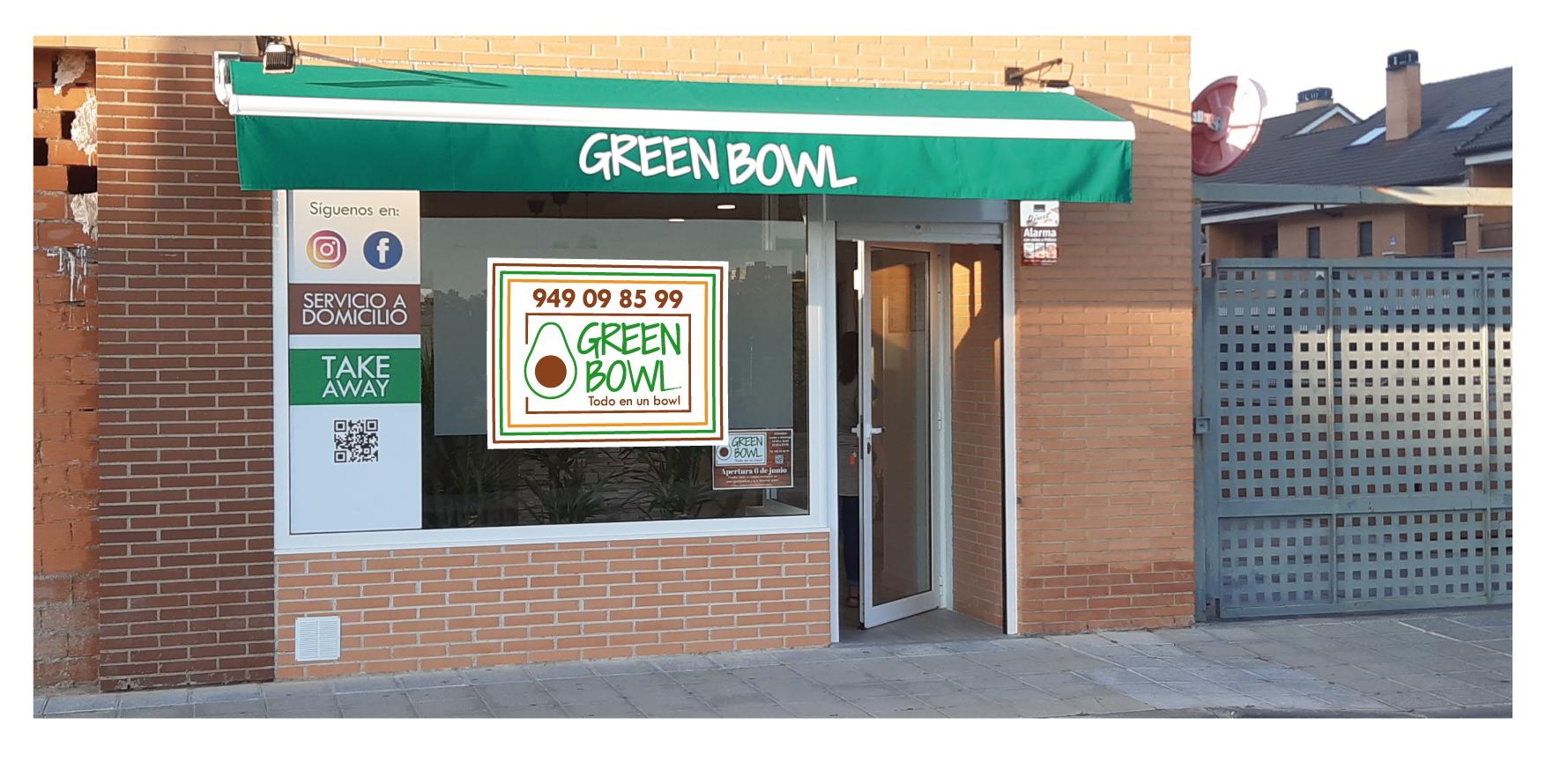 Fotografía de la fachad a de un local de venta de productos de la marca green bowl en España